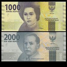 Indonesia Set 2 PCS, 1000 2000 Rupiah, 2016, P-NEW, UNC>New Design, Original
