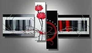 CHOP73  100% hand-painted 4pcs modern abstract flowers oil painting art canvas