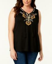 NEW Style & Co  Plus Size 1X Embroidered Sleeveless Peasant Blouse $49
