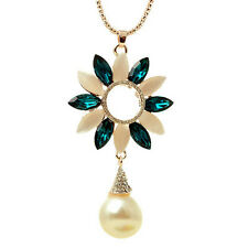 RF 18K Gold Plated Crystal Opal Pearl Flower Long Sweater Chain Pendant Necklace
