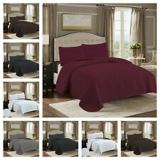 Luxury Bed Spread Quilt Set Premium Quality Solid Pattern 2/3 Pcs Bedding Cover