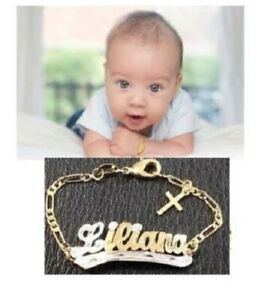 Baby Personalized 14K gold overly id name Bracelet with cross /5 1/2 inch
