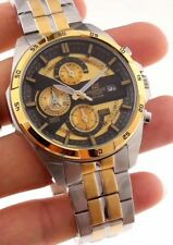 NEW MENS CASIO EDIFICE EF556 SERIES GOLD/BLACK DIAL STAINLESS STEEL WATCH w/TAG