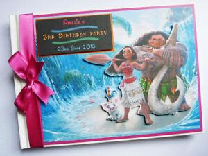 Personalised Moana Birthday Guest book, Moana birthday album, scrapbook