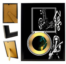 JIMMY PAGE LED ZEPPELIN - A4 SIGNED FRAMED GOLD VINYL COLLECTORS CD PICTURE