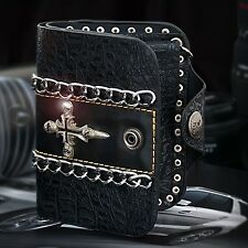 Guntwo Korean Mens Fashion Wallet - Biker Cross Skull Bifold Wallet W21752 US