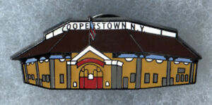 "COOPERSTOWN NEW YORK HOME OF BASEBALL DOUBLEDAY FIELD 1.5"" SOUVENIR PIN BUTTON"