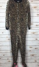 Nick & Nora Leopard Pajamas S Small Footed PJ One Piece Zip Front  A1