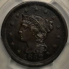 1852 Braided Hair Large Cent PCGS AU58