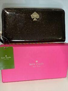 Kate Spade Glitter Bug Wallet (black).  Zippered.