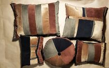 Throw Pillow Set Hand Crafted 5 Pc Earth Tone Reversible Design Mix Media Pant