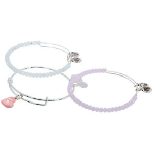 Alex And Ani Be Mine Sweet Set Of 3 Shiny Silver Charm Bangle Bracelet A17EB30SS