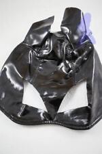 Adult Black Shiny PVC Halloween Cat Bat Catwomen Animal Costume Half Mask