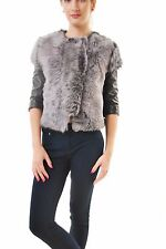 J BRAND Women Alith Lamb Fur Shearing Leather Gray Jacket Size S RRP $1795 BCF68