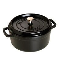 Staub Round Cocotte | Cast Iron Cookware |Made In France|26cm/5.2L |BlackNew