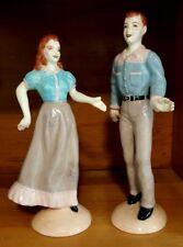"Mid Century Country Swing Ceramic Figurines Square Dance Couple 10"""