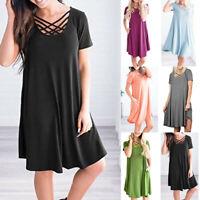 Summer Women's T-Shirt Cross Casual Solid Plus Size Party Long Shirt Dress