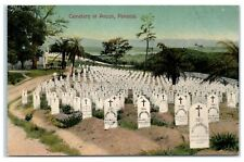 Cemetery at Ancon, Panama, Panama Canal Deaths, American Headstones Postcard