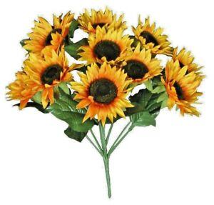 "Sunflower 20"" Bush Faux Silk Flower Home Craft Wedding Decor US Fast Shipping"