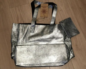 Ian Snow Silver Suede Leather Tote Bag With Pouch