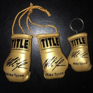 MIKE TYSON Autographed Mini Boxing Gloves & Keyring GOLD LIMITED EDITION