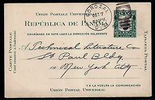 1909 Corozal, Canal Zone to New York - Scott UX2 Postal Card, Type 3