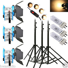 3 X 650W DIMMABLE MOVIE FRESNEL TUNGSTEN SPOTLIGHT LIGHTING STUDIO VIDEO BARNDOO