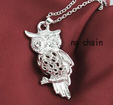 Hot Winsome Silver Plated huge 3D Hollow out Owl Necklace Pendant