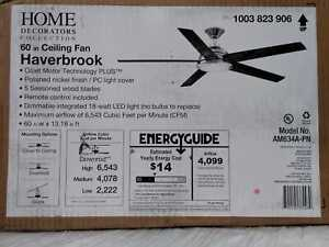 Haverbrook 60 in. LED Polished Nickel Ceiling Fan with Light by Home Decorators