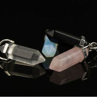 Natural Gemstone Hexagonal Prism Beads Healing Pointed Pendant Necklace top