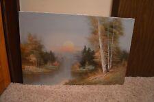"R. Thomas landscape oil painting on canvas, signed,sunset/river/ lifelike 24x36"""