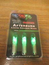 3 GREEN AFTERBURN CROSSBOW ARROWS LIGHTED NOCKS HALF MOON .297-302 I.D.