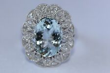 5.26 TCW Natural Blue Aquamarine and Diamonds in 14K Solid White Gold Ring