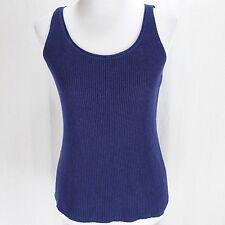 Eileen Fisher Tank Top Sz PM Blue Purple Sleeveless Sweater Knit Shell Shirt