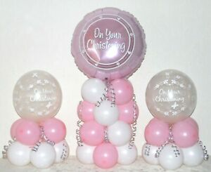 CHRISTENING GIRL  - Table Balloon Decoration Display Kit - No Helium Needed