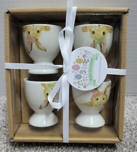 GRACE TEAWARE PINK FLOWER BUNNY BOULEVARD SET OF 4 EASTER EGG CUP HOLDERS-NEW