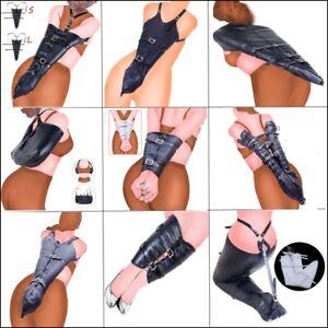 women's PU Leather body jacket Straight Arm leg Binder party Costumes Restraints