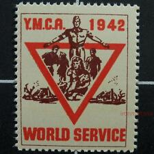 USA WW2 poster stamp-1942-YMCA World Service patriotic war label-United States