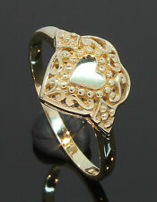 9 Carat Yellow Gold Filigree Patterned Heart Ring Size M 9CT (70.19.025)