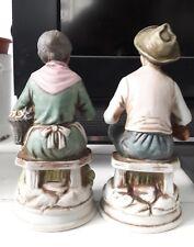 Finissima Coppia statuine anziani in porcellana