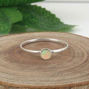 Girls Minimalist 925 Sterling Silver Opal Gemstone Stackable Ring Jewelry