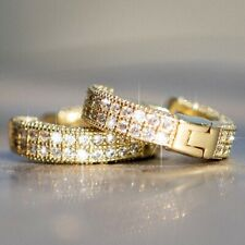Unisex 14K Gold Filled Silver Cubic Zirconia Small Huggie Hoop Earrings jewelry