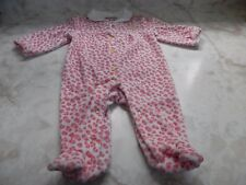 Baby Girl 0-3 Months Juicy Couture White Pink Animal Print Footed Button Sleeper