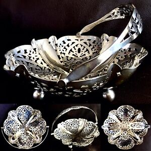 """Antique Victorian Davis & Sons (Glasgow) Silver Plated Foldable 8"""" Serving Dish"""