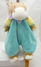 Partner Jouet range pyjama velours hippopotame turquoise 40 cm environ