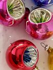 Vintage Christmas Tree Indent Satellite Glass Ornaments Feather Lot 7