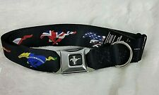 Ford Mustang Buckle Down Dog Collar 18-32 Inches  Wide Width Seat Belt Collar