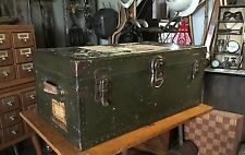 Vintage Trunk Military Green with Railway Express Label & Leather Handles