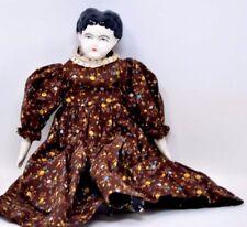 "Antique Tasha Tudor 12"" Nell 1977 Ceramic Doll Calico Dress"