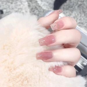 Shining Glitter Pink False Nails Long Square Full Press On Nails Art Decoration